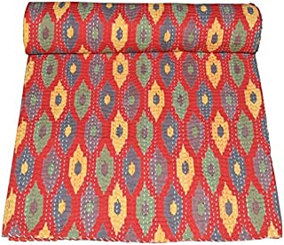 Ramdevcrafts Ikat Print Queen Size Kantha Quilt, Kantha Blanket, Bed Cover, King Kantha bedspread, Bohemian Bedding Kantha Size 90 Inch x 108 Inch (Red)