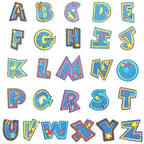 AILANDA 26pcs Patches zum Aufbügeln Patches Aufnäher Buchstaben A-Z Bügelbuchstaben Buchstaben zum Aufbügeln Bügelbilder Aufbügelflicken für Schuhe Hut Tasche Kleidung