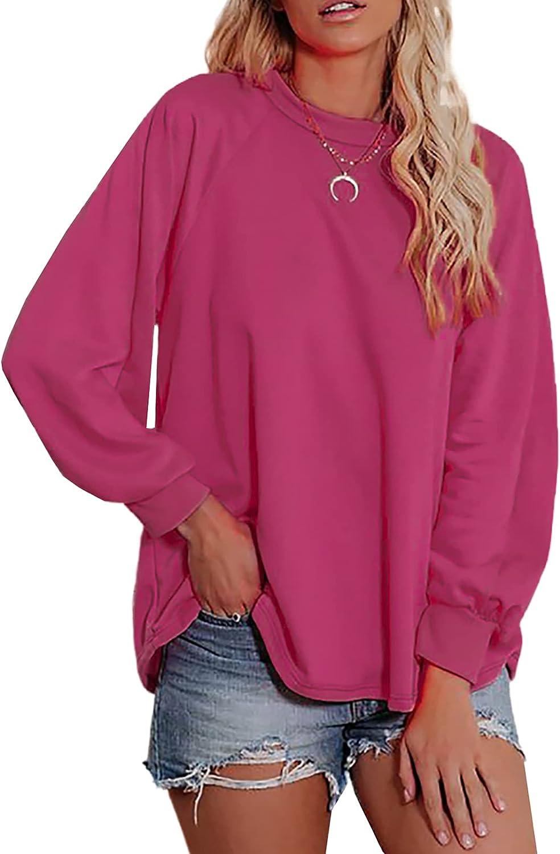 SHEWIN Women Crewneck Sweatshirt Fashion Casual Long Sleeve Fall Tunic Tops Pullover Sweatshirts for Women, US 12-14(L), Rose