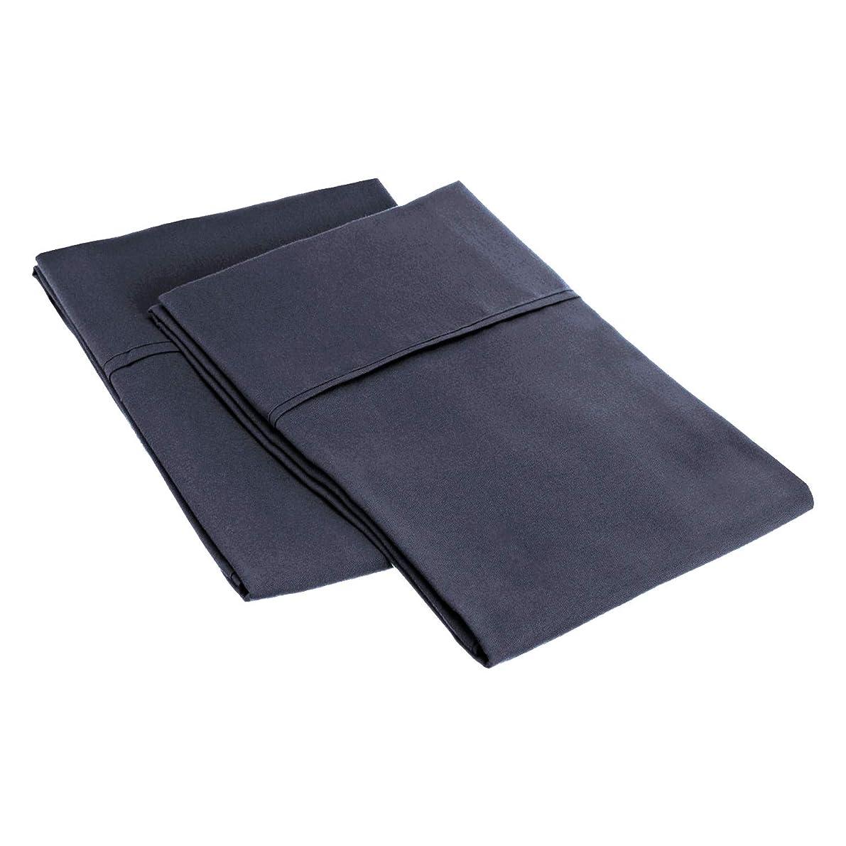 Superior 1500 Series 100% Brushed Microfiber Pillowcase Set of 2, Standard, Navy Blue