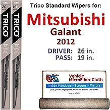 Wiper Blades for 2012 Mitsubishi Galant Driver & Passenger Trico Steel Wipers Set of 2 Bundled with Bonus MicroFiber Interior Car Cloth