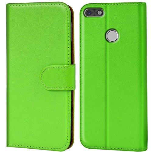 Conie Handyhülle für Huawei P9 Lite Hülle, Premium PU Leder Flip Hülle Booklet Cover Weiches Innenfutter für P9 Lite Tasche, Grün