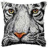 DIY lana bordado almohada hecha a mano Tigre mirada almohada para sofá cama coche (incluye kit de herramientas)