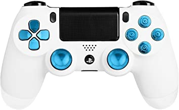 XFUNY® Metal Bullet Buttons ABXY Buttons + Thumbsticks Thumb Grip and Chrome D-pad for Sony PS4 DualShock 4 Controller Mod Kit - Blue