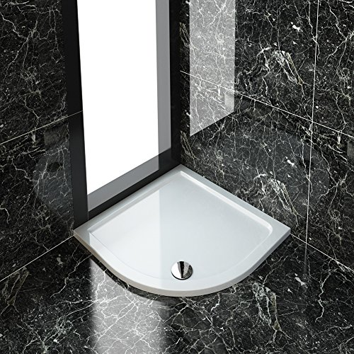 ELEGANT 900 x 900 x 40 mm Quadrant Stone Tray for Bathroom Shower Enclosure Corner Glass Door Waste Trap