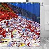 Perú Salinas De Maras Cortina De Ducha Viaje Decoración De Baño Set Con Ganchos Poliéster 72x72 Pulgadas (YL-04642)