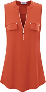 Women's V-Neck Casual Tunic Tank Tops Zipper Sleeveless Blouse Shirt