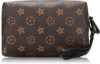 GGUWS Designer Leather Wristlet Retro Cosmetic Travel Toiletry for Women, Wallet Purse Large Makeup Toiletries Pouch