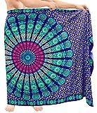 LA LEELA Men Swimsuit Cover Up Beach Sarong Wrap Tribal Lungi One Size N_Blue_R655