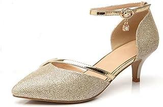 WUIWUIYU Femme Bout Fermé Escarpins Chaussures de Cérémonie Mariage