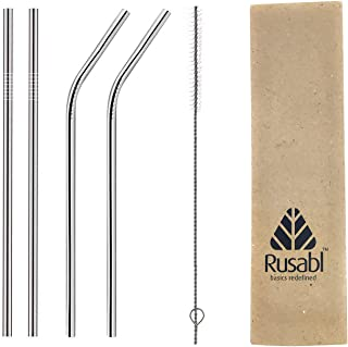 Rusabl Straw - Reusable Stainless Steel Metal Straws - Pack of 4 (Straight & Bent) with Brush in Paper Packaging Cutlery