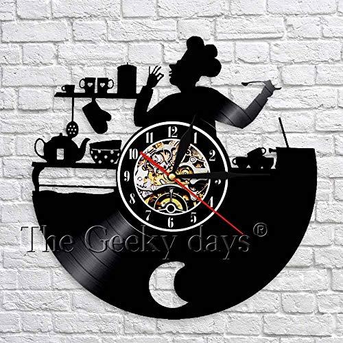 fdgdfgd Disco de CD clásico Reloj de Cocina Chef Disco de Vinilo Reloj de Pared 3D Decoración de Diseño Moderno Regalo Creativo | Grabar decoración de Luces de Halloween