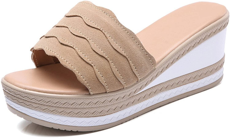 Kyle Walsh Pa Women Wedge Flip Flops Slipper,Casual Suede Peep Toe Platform Sandal Slides Beach shoes Black