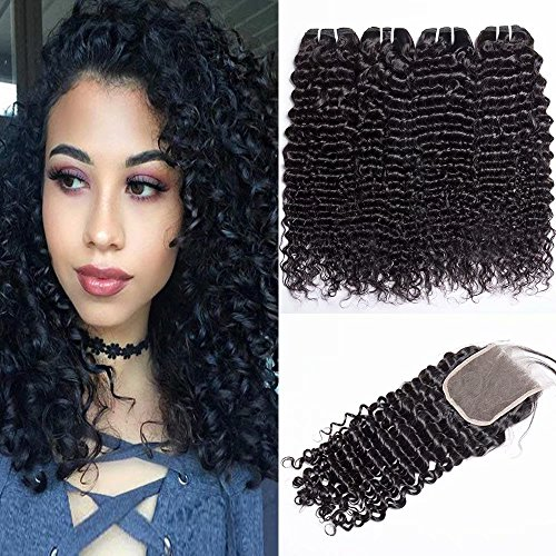 Maxine 9A Brazilian Deep Wave With Closure 100% Unprocessed Virgin Brazilian Hair 4 Bundles Deep Curly Human Hair Extensions With 4x4 Lace Closure 95-