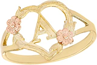 CaliRoseJewelry 10k Gold Initial Alphabet Personalized Heart Ring - Letter A