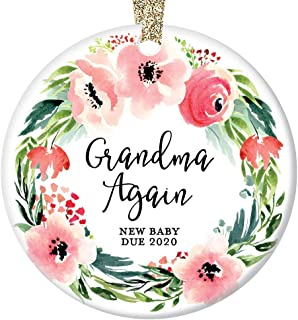 Grandma Again Christmas Ornament Baby Due 2020 Pregnancy Reveal Announcement We're Expecting 2nd Baby Grandmother Pink Floral Wreath Ceramic 3