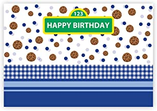 Funnytree 7x5ft Happy Birthday Party Backdrop for Baby Boy Cartoon Cookie Polka Dots Street Photography Background Blue White Grid Carnival Cake Table Decoration Banner Photo Studio Booth Props