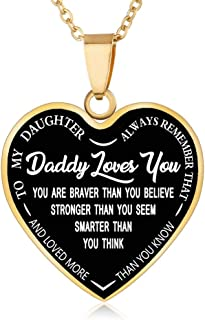 FAYERXL Gift Ideas to My Daughter from Dad Mom,Daddy Mommy Loves You Heart Necklace Quote Wedding Gift (Daddy to Daughter Gold)