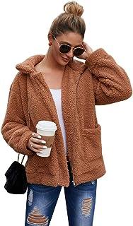 Kiss Me Womens Casual Faux Shearling Jacket Lapel Fleece Fuzzy Jacket Winter Oversized Outwear Jackets Shaggy Coat