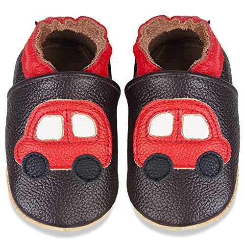 IceUnicorn Weiche Leder Babyschuhe Lauflernschuhe Krabbelschuhe Babyhausschuhe mit Wildledersohlen für Junge Mädchen Kleinkind(Braunes Auto,6-12)