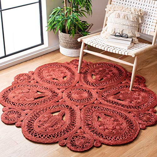 Safavieh Natural Fiber Collection NF360P Hand-woven Jute Area Rug, 3' Round, Rust