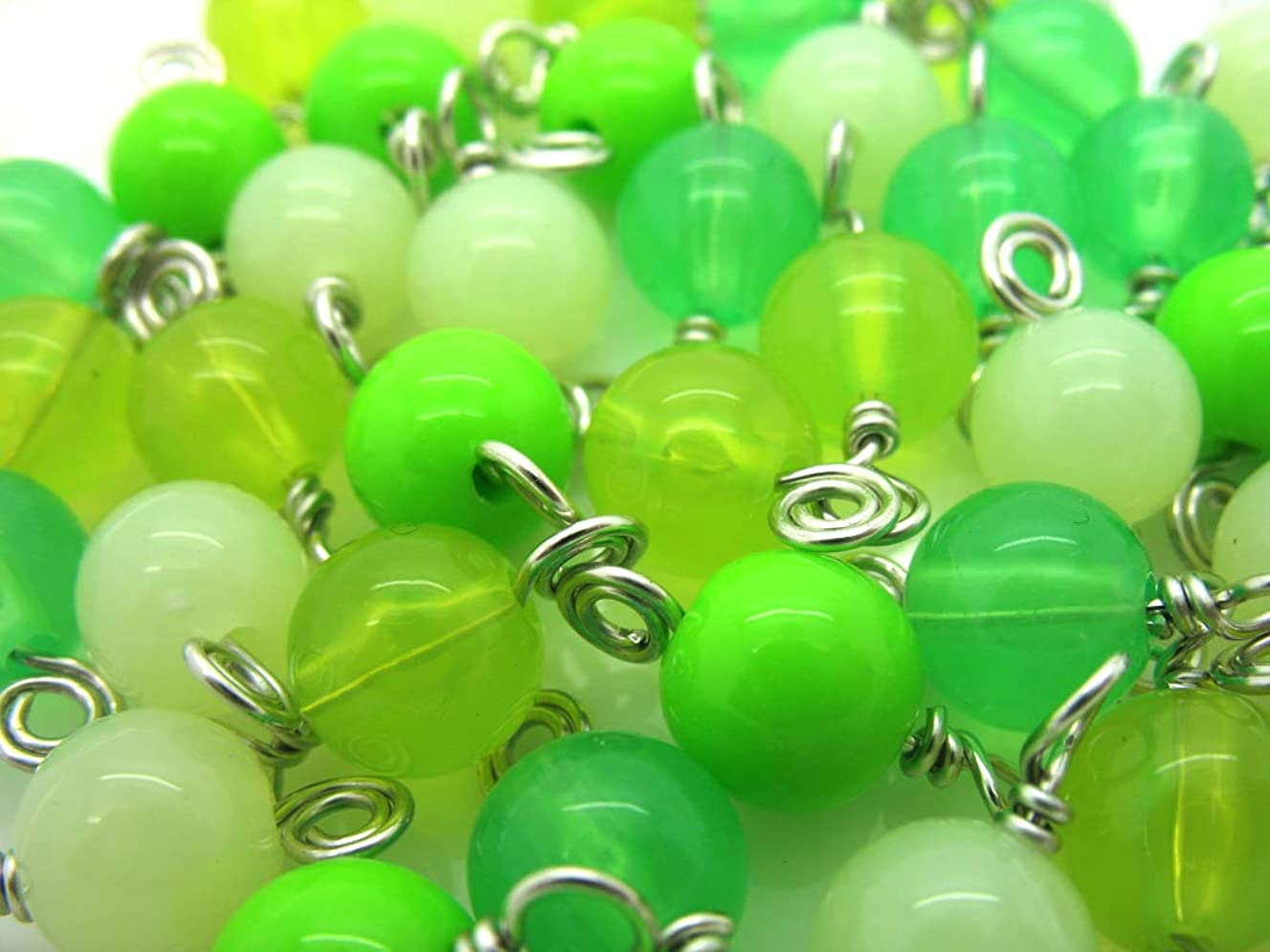 30 Green Acrylic Bead Charms - 8mm Wire-Wrapped Bead Dangles - Dangle Charms