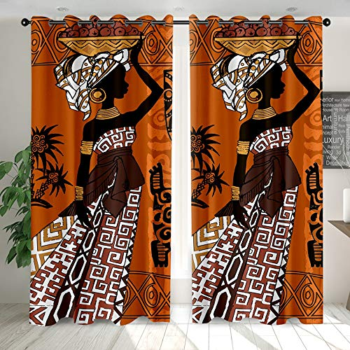 YEARGER Vorhänge Blickdicht, Digitaldruck Gardinen Afrika Frauen Art Deco Polyester Stoff Mit Ösen Für Für Wohnzimmer Schlafzimmer Kinderzimmer 2er Set (W132 x L 243cm,#06)
