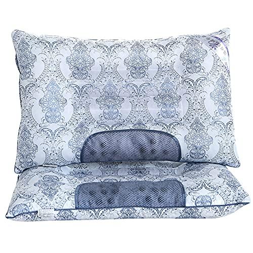Almohadas de Cama para Dormir, Paquete de 2, Almohada de Enfriamiento Ultra Suave con Fibra de Plumón Ajustable y Funda Transpirable y Agradable para La Piel, Los 40x60cm,Azul