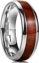 King Will Nature 7MM Titanium Ring Koa Wood Inlay Comfort Fit Wedding Band for Men Women