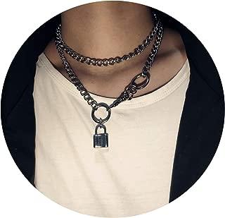 Helloblack 100% Handmade Unisex Padlock Pendant Choker Necklace & 80cm Long Metal Chain Necklace Friend Gift