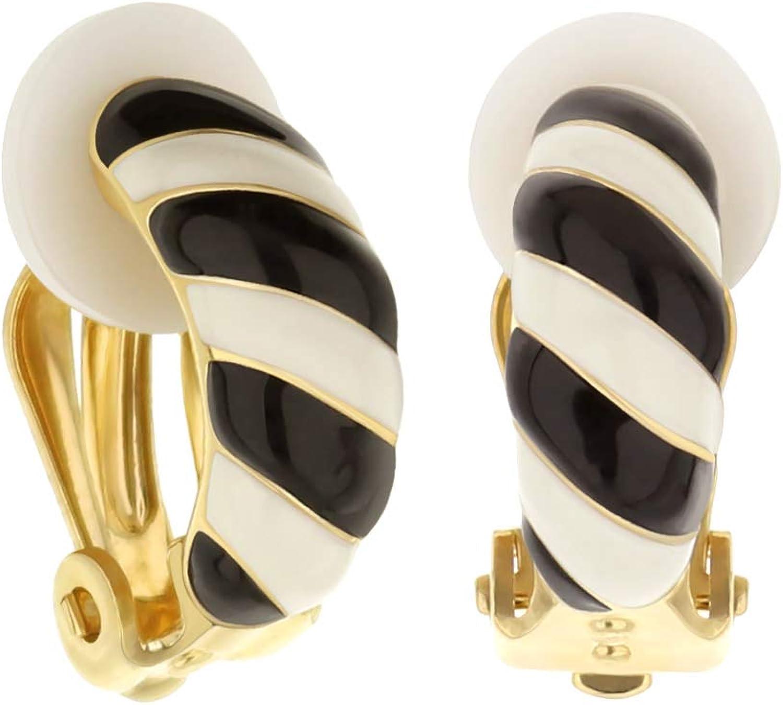 Clip-On Enamel Striped Earrings - Clip-On