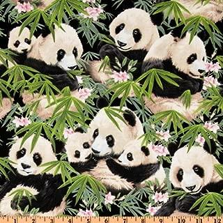 Elizabeth's Studio Panda Bears Black Fabric By The Yard