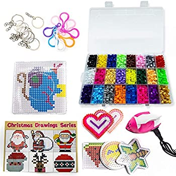 Fuse Beads Kit - Create Colorful Melty Bead Art Patterns - Includes Iron for Melting Beads! Lots of Bead Craft Accessories  Clear Case Ironing Paper Pegboards Tweezers Keychains Zipper Pulls