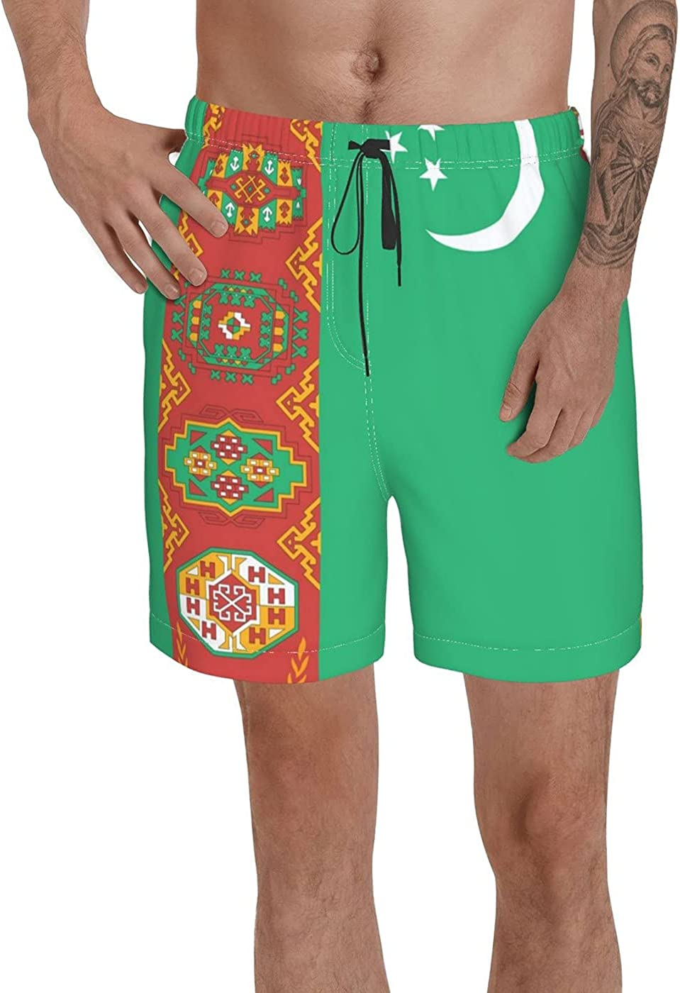 Count Turkmenistan Flag Men's 3D Printed Funny Summer Quick Dry Swim Short Board Shorts with