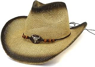 XinLin Du Summer Straw Cowboy Hat Men Women Outdoor Beach Sun Hat Metal Bull Head Leather Rope Sunhat