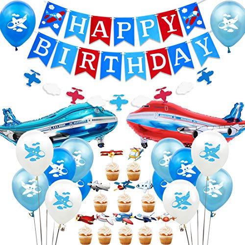 Jollyboom Decoraciones para Fiestas de Aviones El Tiempo Vuela Suministros para Fiestas de cumpleaños Avión y Nubes Vintage Guirnalda de pancartas para Hombres Adultos o Baby Shower