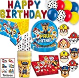 Paw Patrol Party for 16- Plates, Cups, Straws, Napkins, HAPPY BIRTHDAY Balloons, Masks, and more