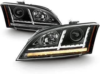 ACANII - For [Halogen Model] 2008-2014 Audi TT LED DRL Sequential Turn Signal Projector Headlights Headlamps Assembly