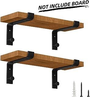 Specially Designed Metal Shelf Brackets 8 Inch, Heavy Duty Floating Shelf Support Brackets, Modern Rustic Wall Shelf Brackets, Black (4 Pack)