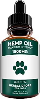 WowPaws Hemp Oil for Dogs Cats - USA Made 1500MG Hemp Extract - Advanced Formula - Pain Relief - Anti Anxiety, Natural Hip & Joint Health Support - Omega-3, 6