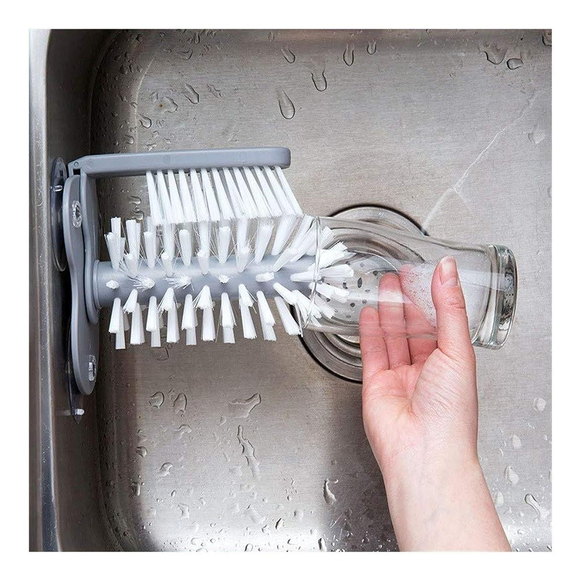 ブリーク落胆した無力YouNITE ガラス洗濯機シンク吸盤ベースクリーニングボトルガラスブラシ浴室ツール (Color : Gray)