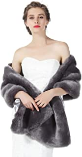 Faux fur Shawl Wrap for Wedding Women Shrug Bridal Stole Winter Cover Up Bridesmaids Cape S76