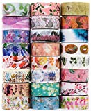Washi Tape Set of 24,Decorative Washi Masking Tapes for DIY Crafts and Gift Wrapping