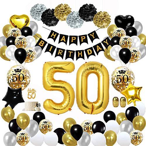 MMTX 50 Geburtstag Dekoration Schwarzes Gold, Geburtstag Party Deko mit Happy Birthday Banner Konfetti Luftballons Herz Folienballons für Mädchen JungenParty
