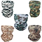 YD Cloud 5 PCS Riding Face Mask for Motorcycles, Fishing, Hiking, Running, Skiing, Cycling, Halloween; Seamless Magic Scarf,Headbands Tube (Camouflage)