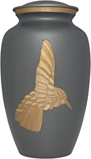 (Grey) - Liliane Memorials Grey Hummingbird Funeral Urn - Cremation Urn for Human Ashes - Hand Made in Brass - Suitable for Cemetery Burial or Niche - Large Size fits Remains of Adults up to 90kg