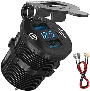 Meipire 12V/24V Einbau Buchse Quick Charge 3.0 USB Zigarettenanzünder Ladegerät, 2 Port QC3.0 Ladegerät, mit LED Voltmeter Display für Auto Boot Marine