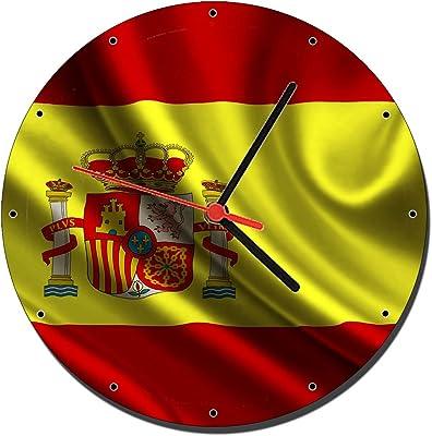 MasTazas Bandera De España Spain Flag Reloj de Pared Wall Clock 20cm: Amazon.es: Hogar