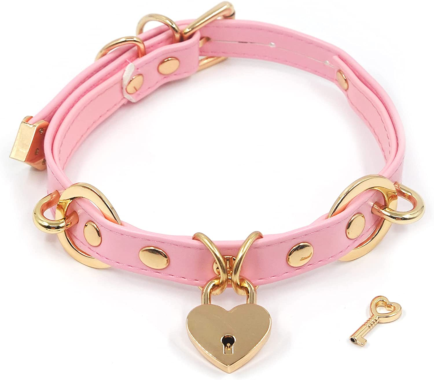 Handmade Heart Padlock Leather Adjustable Collar With Key Goth Choker Necklace For Women Girls