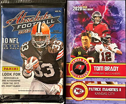 2012 Panini ABSOLUTE Football Card Factory SEALED Pack - Look for Russell Wilson, Ryan Tannehill, Andrew Luck, Nick Foles Rookie and Autograph Cards - Plus Brady/Mahomes Novelty Cards Pictured